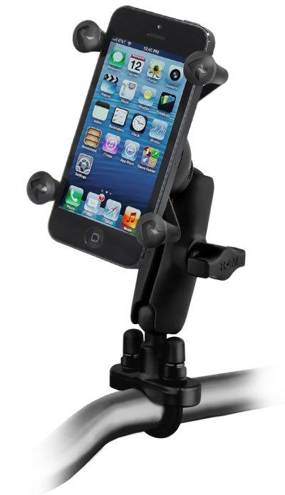 画像1: スマートフォン用ラムマウント Xグリップ&U字ハンドルバークランプ テザー付