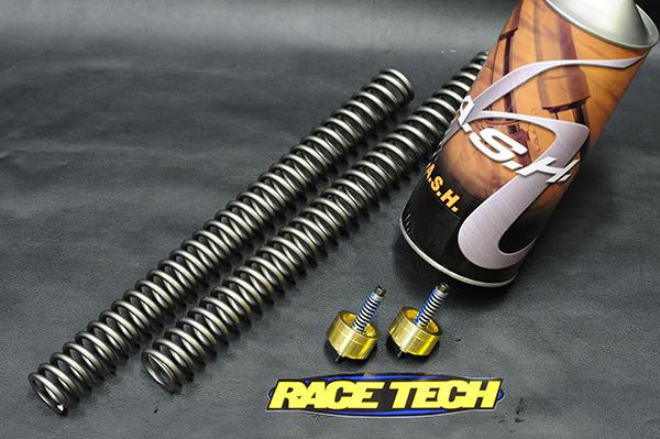 画像1: スポーツスター専用 フォーク スプリング&オイル/ゴールドバルブ ステージ2キット by RaceTech (1)